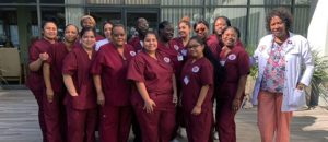 Healthcare Career College students standing outside together.