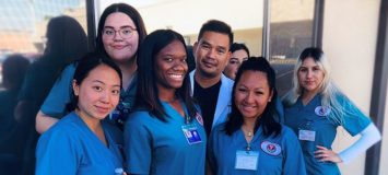 Group of Healthcare Career College students standing together.