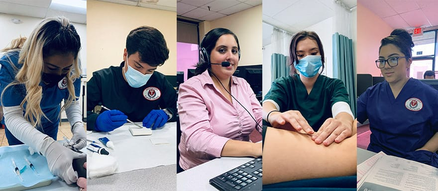 Five different students practicing healthcare techniques.