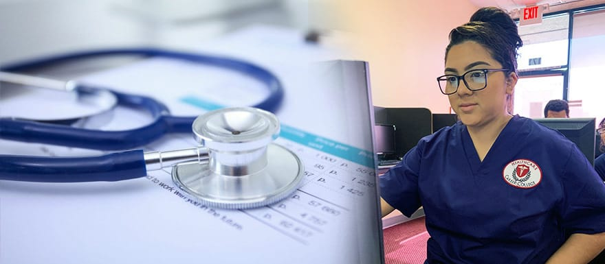 An image of a stethoscope and an image of a student working on a computer.