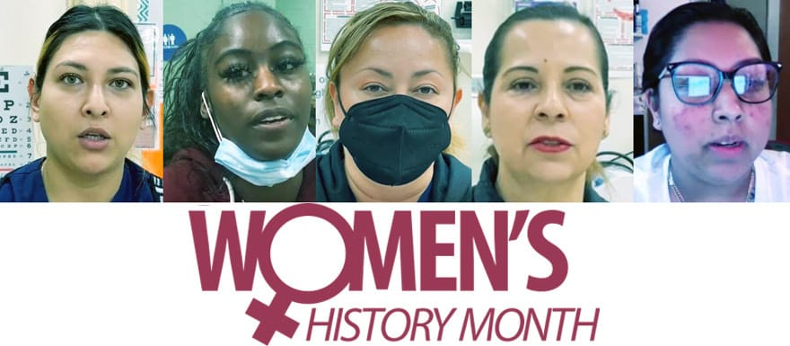 Five female Healthcare Career College students talking about Women's History Month.