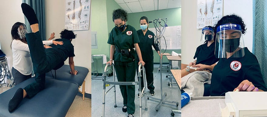 3 images of Physical Therapy Aide students practicing hands-on