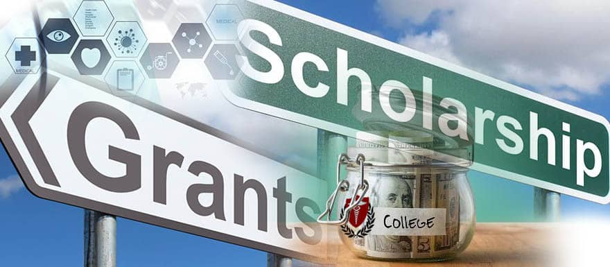 """Grants sign, Scholarship sign, and """"College"""" money jar."""