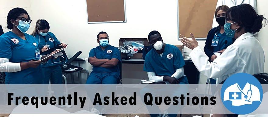 Nursing instructor teaching healthcare students.
