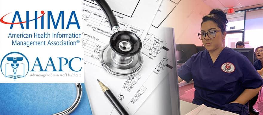 AHIMA logo, AAPC logo, and a Medical Billing and Coding student at a computer.