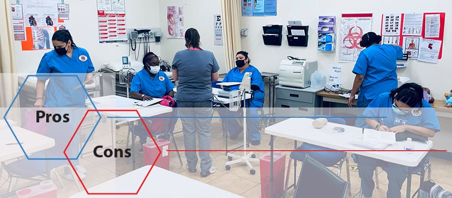 Medical students in a healthcare lab classroom.